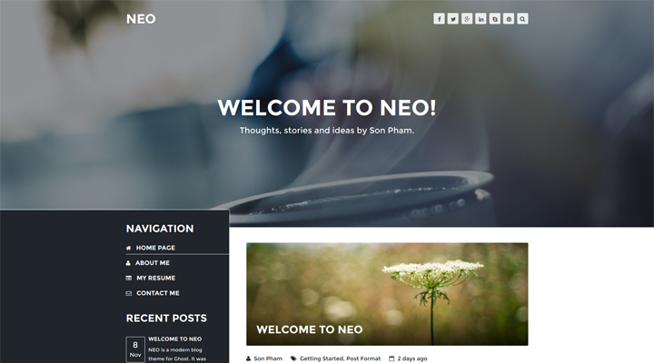 NEO - A Modern Blog Theme For Ghost