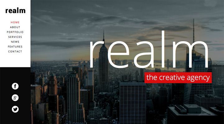 REALM - One Page Parallax Retina WordPress Theme