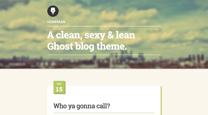 Venkman - A Clean, Modern Ghost Theme