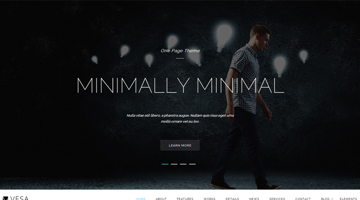vesa responsive parallax one page wordpress theme by daniele