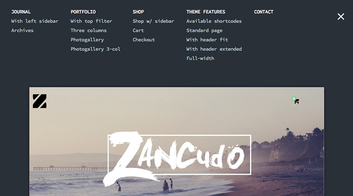 Zancudo - Mighty fullscreen theme for creatives